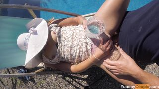 Nice Poolside Sex, Cumshot Compilation - Pretty MILF gets screwed by the pool