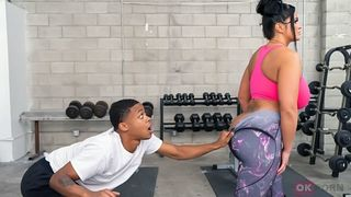 Big-assed mommy takes son's BBC and has wild taboo fucking in the gym