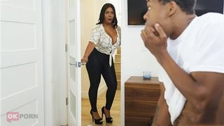 Teen son enjoys hot taboo sex with curvaceous black mom in the kitchen