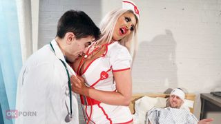Cunning son steals a doctor's uniform to have taboo fun with sultry MILF