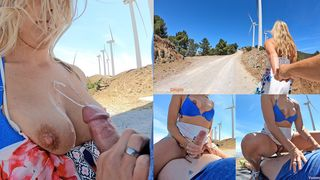 Outdoor Sex, Cumshot Compilation - Hot MILF shagged on a windy mountain top