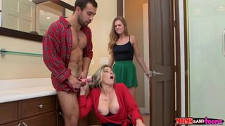 Thanksgiving ends with mom and daughter giving a perv a taboo threesome