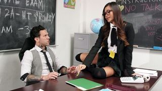 Adorable Asian minx in a cute skirt is about to have sex with her teacher