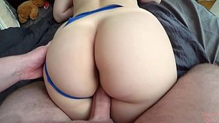 Spunky blonde chick with big ass gets her soaking wet pussy creampied