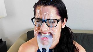 Perverted bukkake MILF with big ass gets her face covered in messy cum